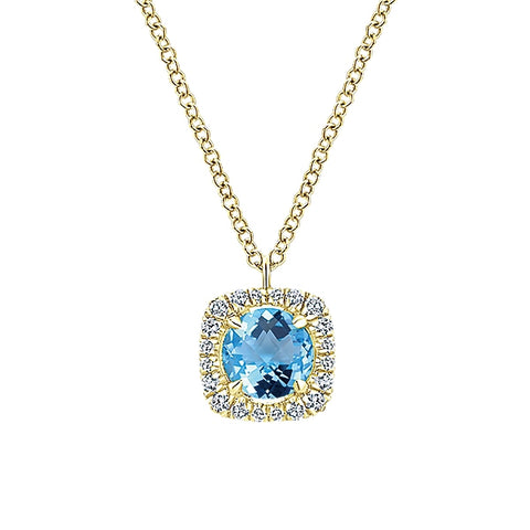 14k Yellow Gold Diamond Swiss Blue