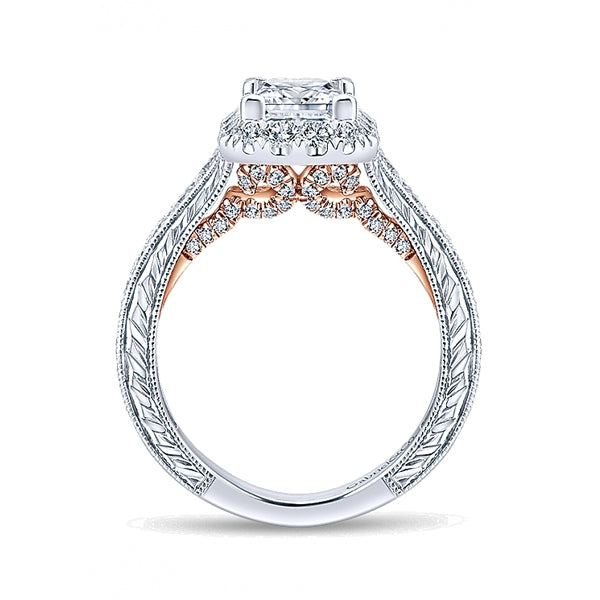 14k White/Pink Gold Diamond Halo