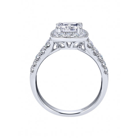 14k White Gold Diamond Halo