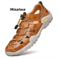 Misalwa Plus Sizes 6-12 Classic Men Sandals Genuine Leather Closed Toe Outdoor Summer Causal Fisherman Shoes Cool Beach Footwear