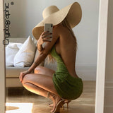 Halter Sexy Backless Mini Dresses Bodycon Skinny Club Party Sleeveless Knitted Dress Fall Streetwear Beach Holiday
