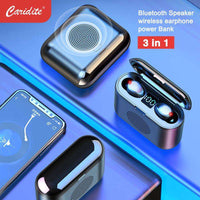 Caridite New Trend New Technology Portable Bluetooth Speaker Wireless Earphone With Power Bank 3 In 1