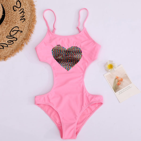 Pink Heart Monokini Bathing Suit