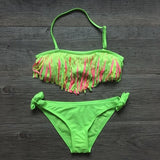 Solid Girls Tassel Bikinis available in Pink, Yellow and Green