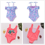 Girls Leaf Print One Piece Swimsuit