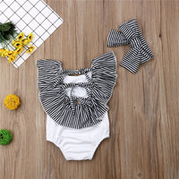Baby Toddler Ruffle Swimsuit with Matching Headband Two Colors