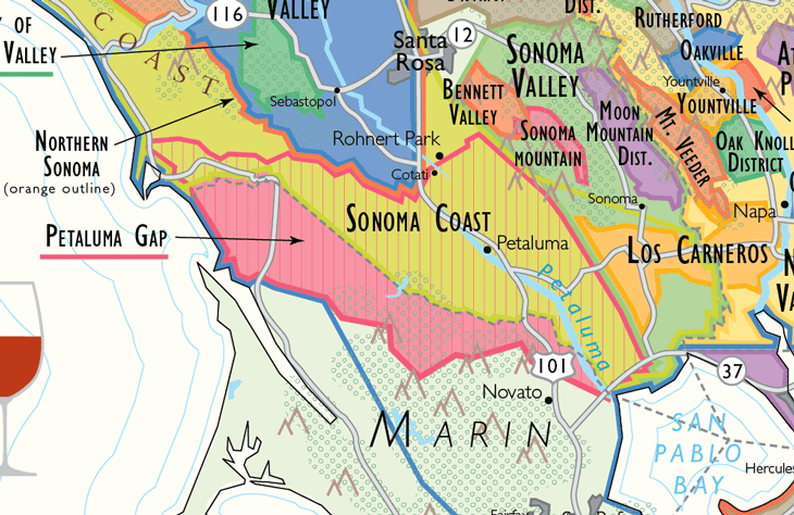 Petaluma Gap Wine Map