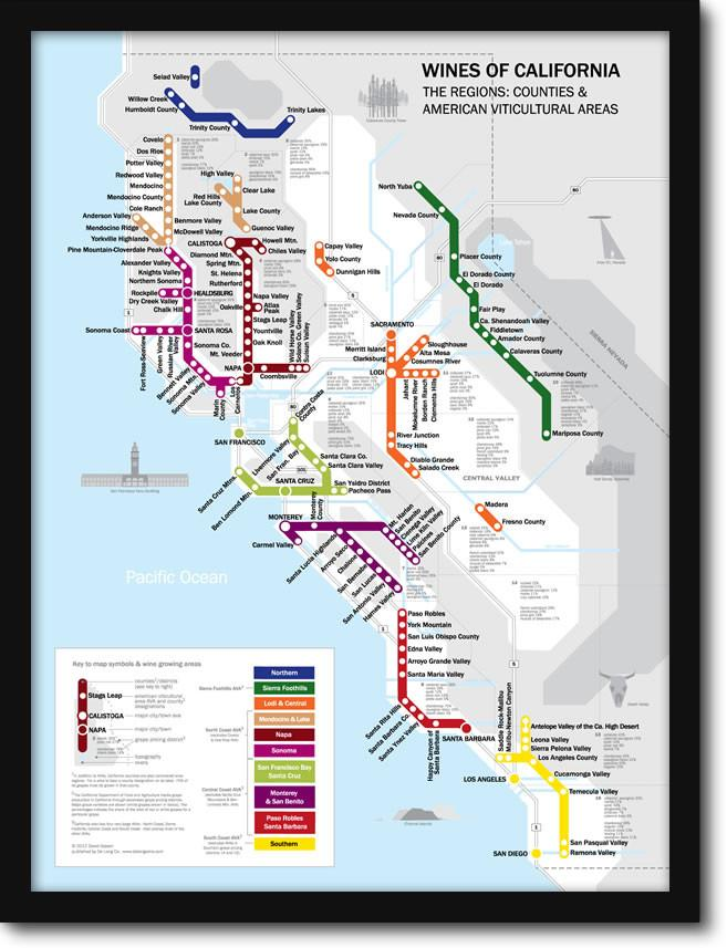 Metro Wine Map of California – French Tube Map