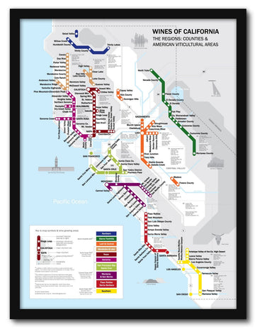 Metro Wine Map of California Framed | De Long