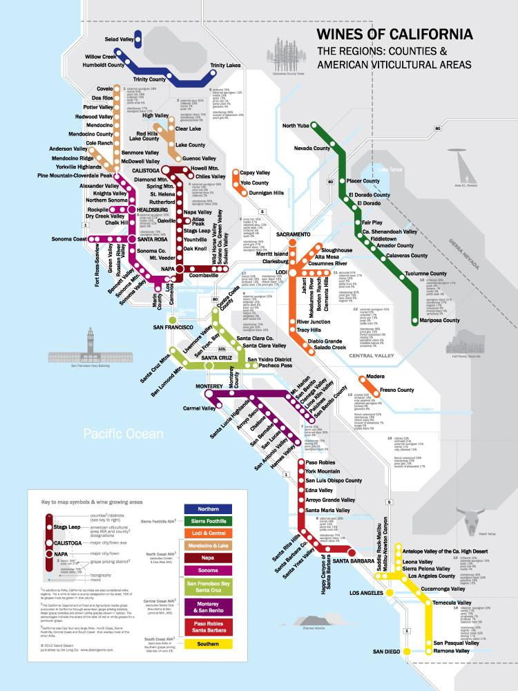 Metro Wine Map of California Framed