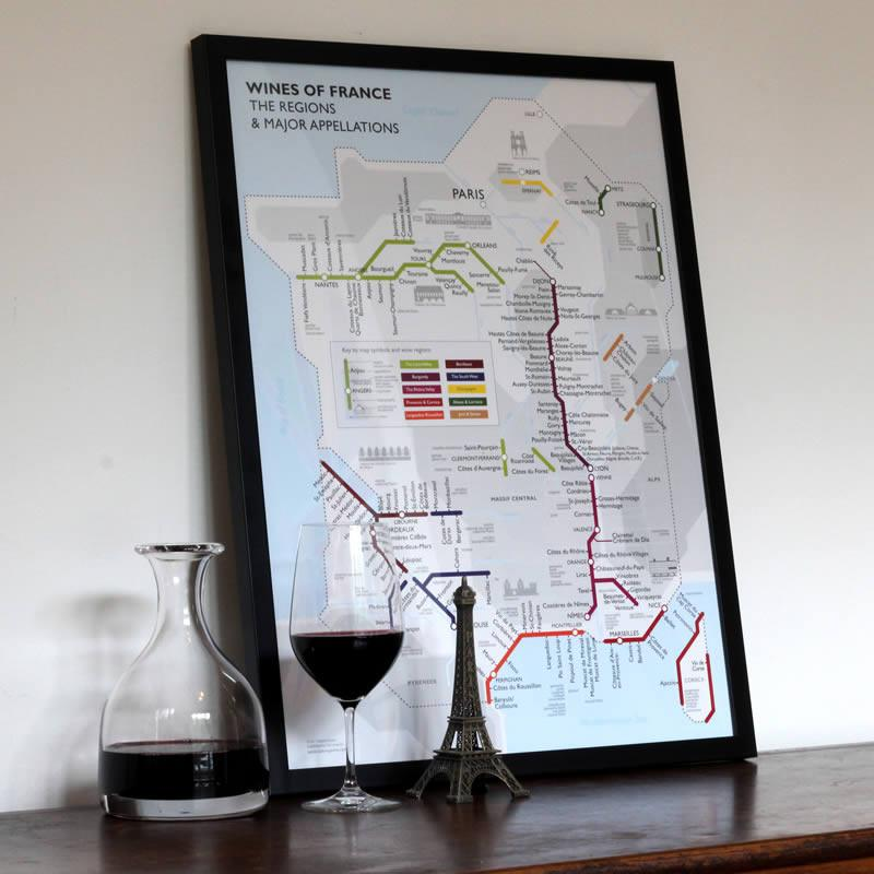 framed wine maps and charts