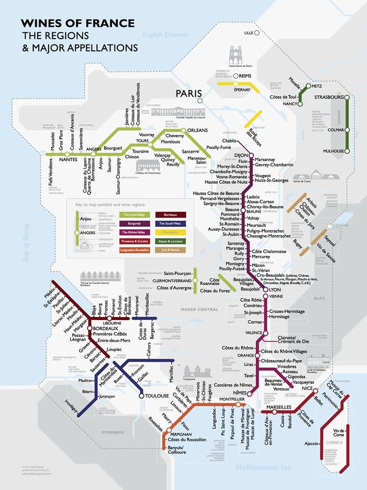 Map Of Regions Of France.Metro Wine Map Of France De Long
