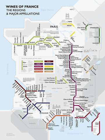 Metro Wine Map of France | De Long