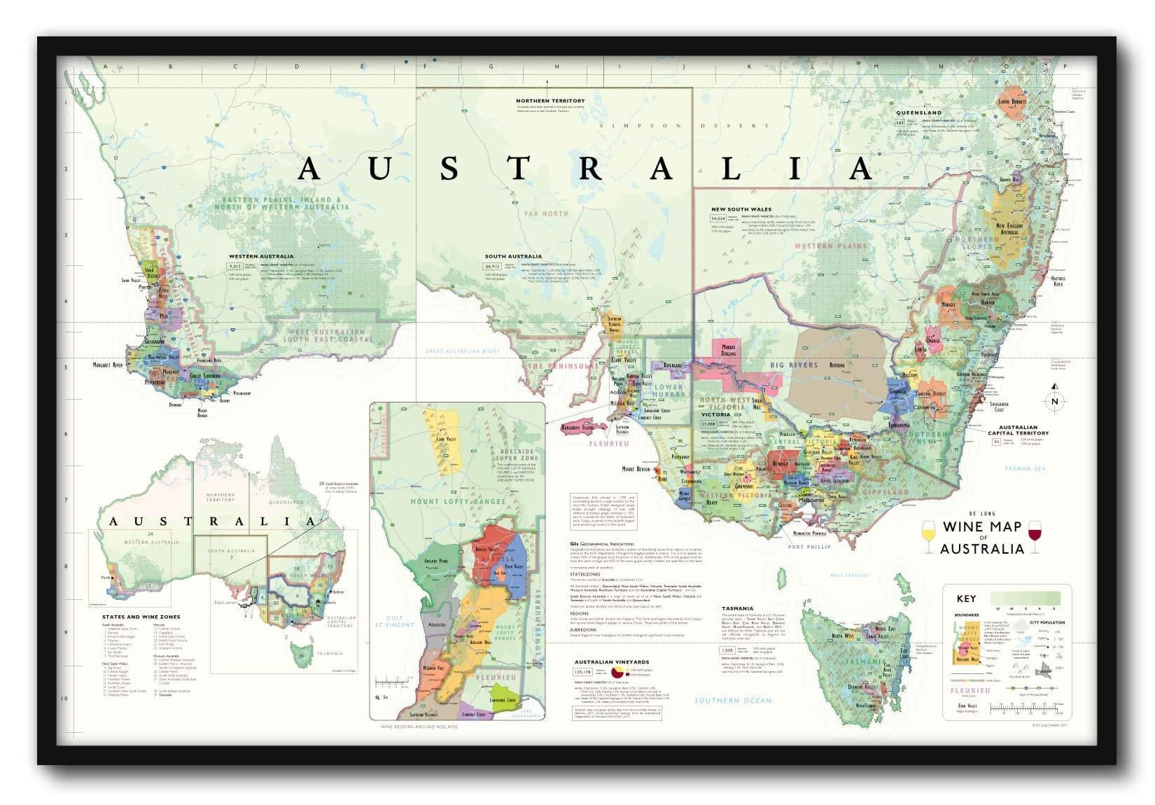Wine Map of Australia Framed - De Long De Map on delaware map, et map, wv map, bhi map, pa map, ja map, east coast map, nee map, az map, md map, madre map, usa map, zi map, ri map, ae map, golo map, fl map, vg map, uso map,