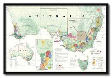 Wine Map of Australia Framed | De Long