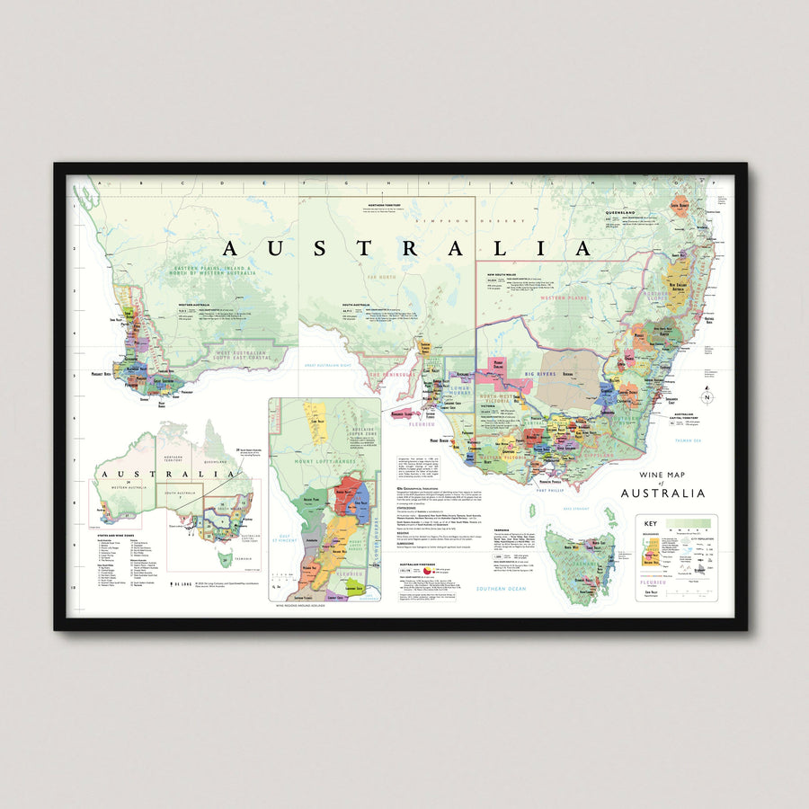 Wine Map of Australia framed