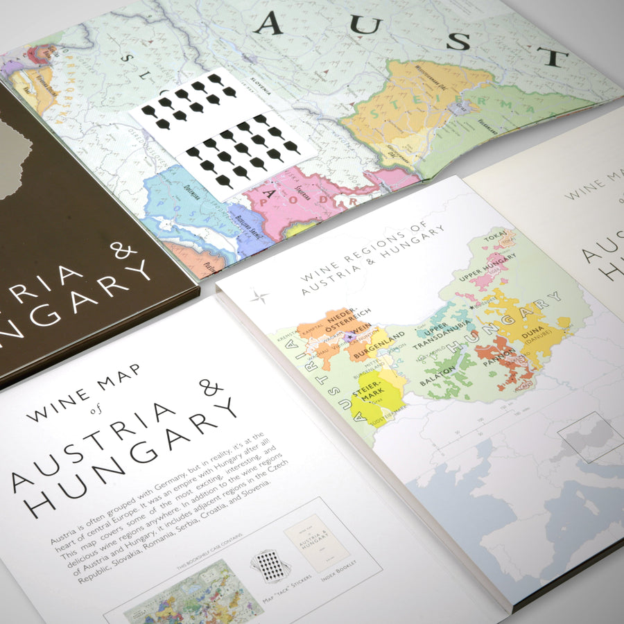 Wine Map of Austria and Hungary Bookshelf Edition Open