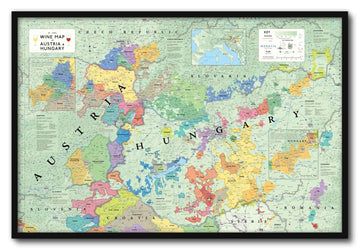 Wine Map of Austria and Hungary Framed | De Long