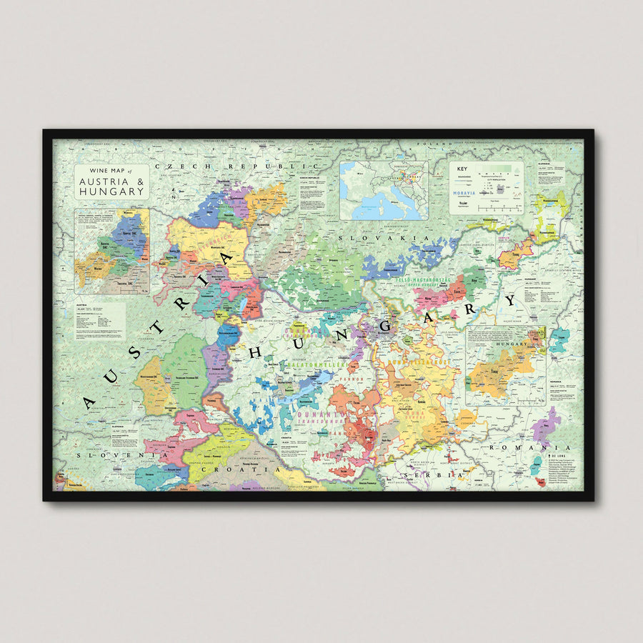Wine Map of Austria and Hungary framed