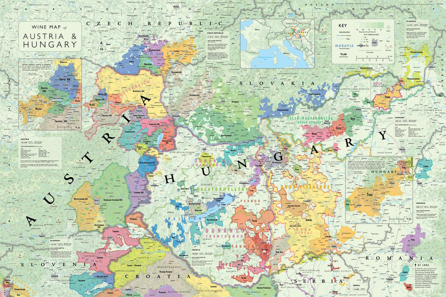 Wine Map of Austria and Hungary Bookshelf Edition Map