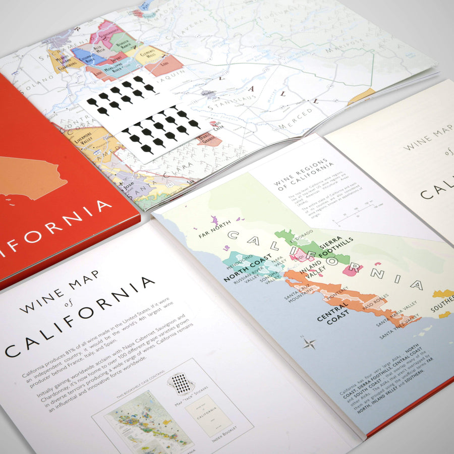 Wine Map of California Bookshelf Edition Open