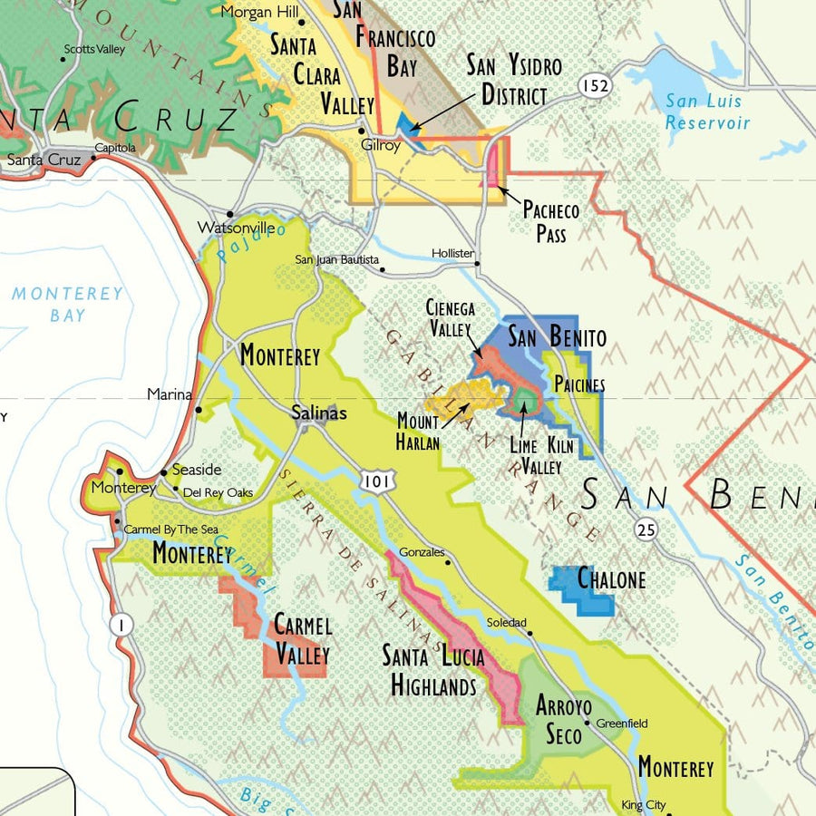 Wine Map of California - Digital Edition Detail