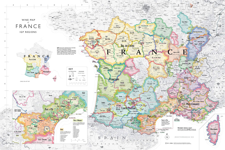 Wine Map of France - Bookshelf Edition IGP Regions Map