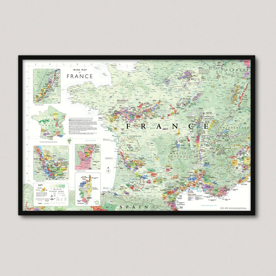 Wine Map of France framed
