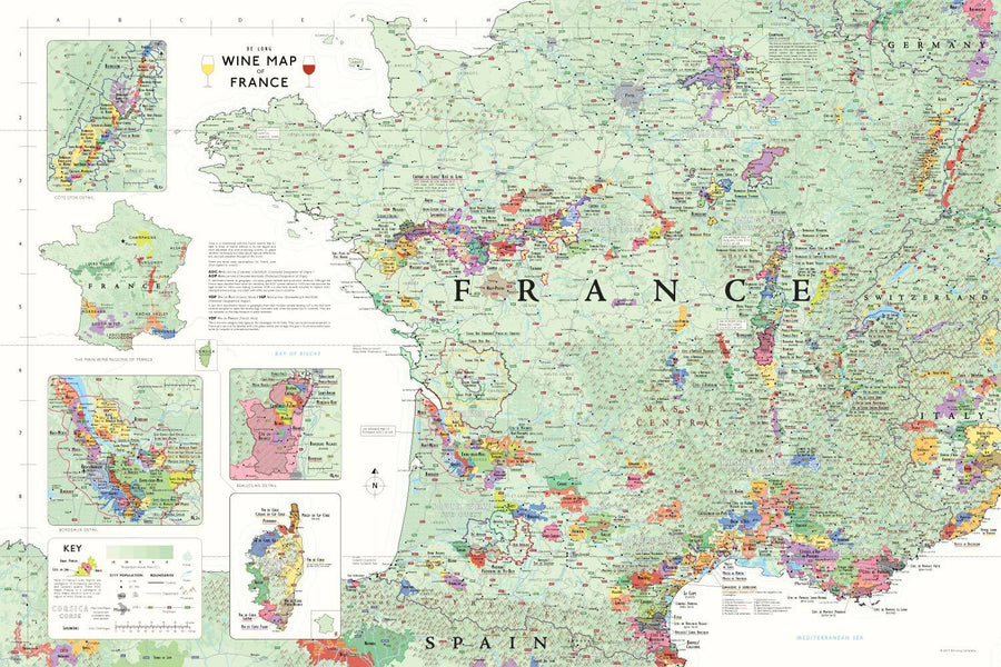 Wine Maps of the World France | De Long