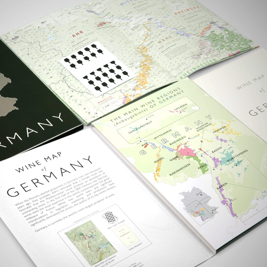 Wine Map of Germany Bookshelf Edition Open
