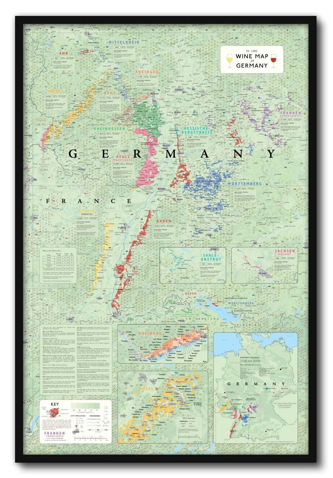 Show Map Of Germany.Wine Map Of Germany Framed De Long