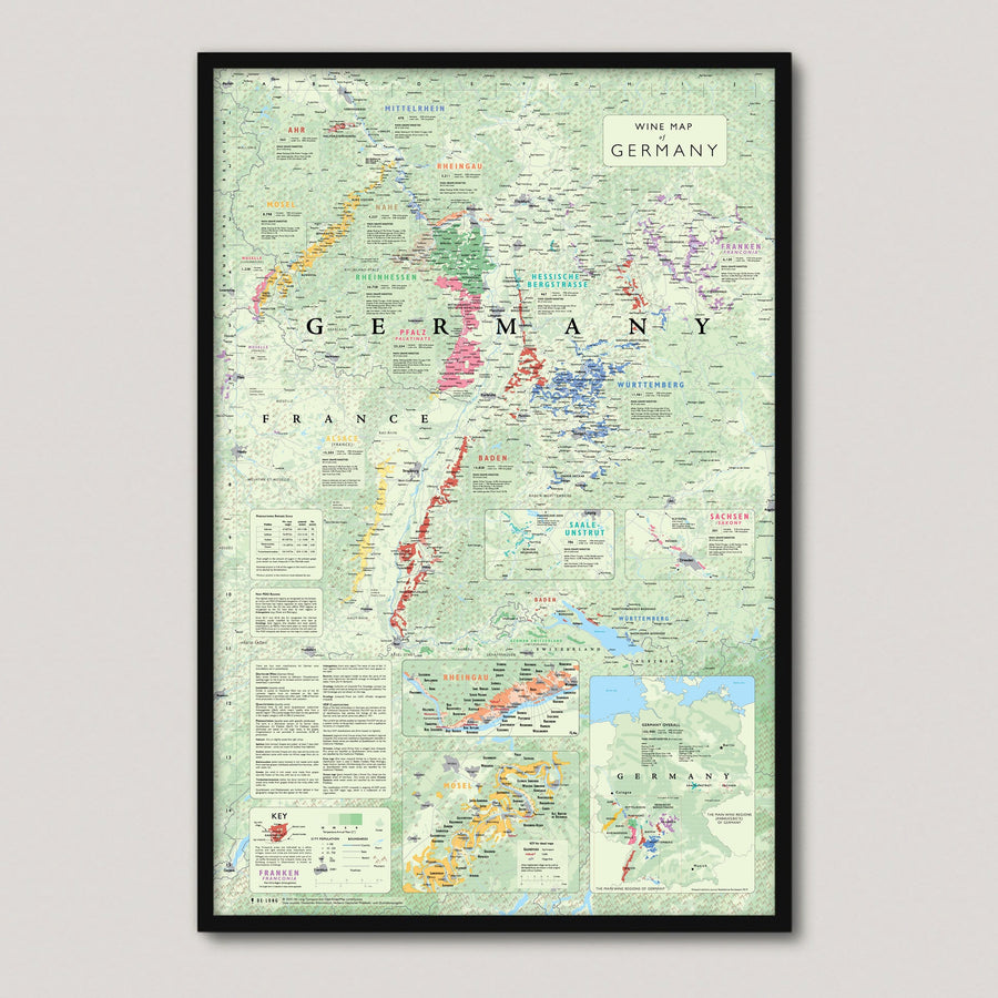 Wine Map of Germany framed