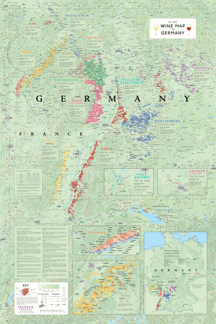 Wine Maps of the World Germany | De Long