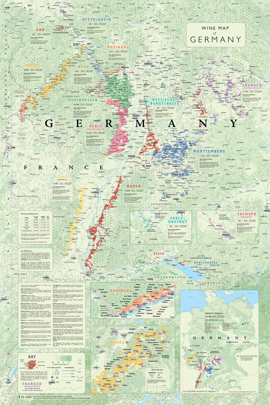 Wine Map of Germany Bookshelf Edition Map
