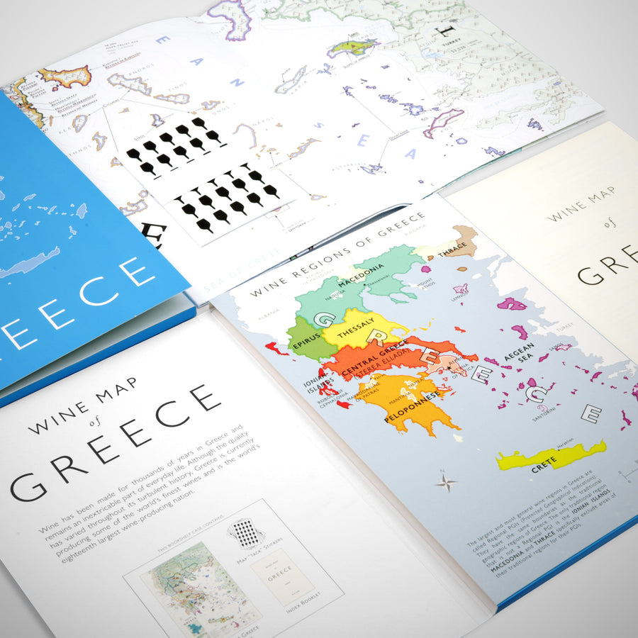 Wine Map of Greece Bookshelf Edition Open