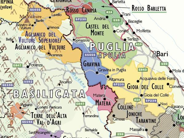 Wine Map of Italy detail | De Long