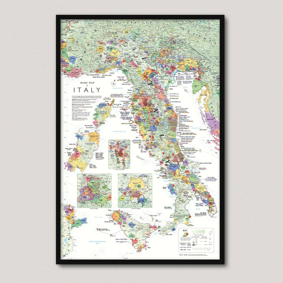 Wine Map of Italy framed