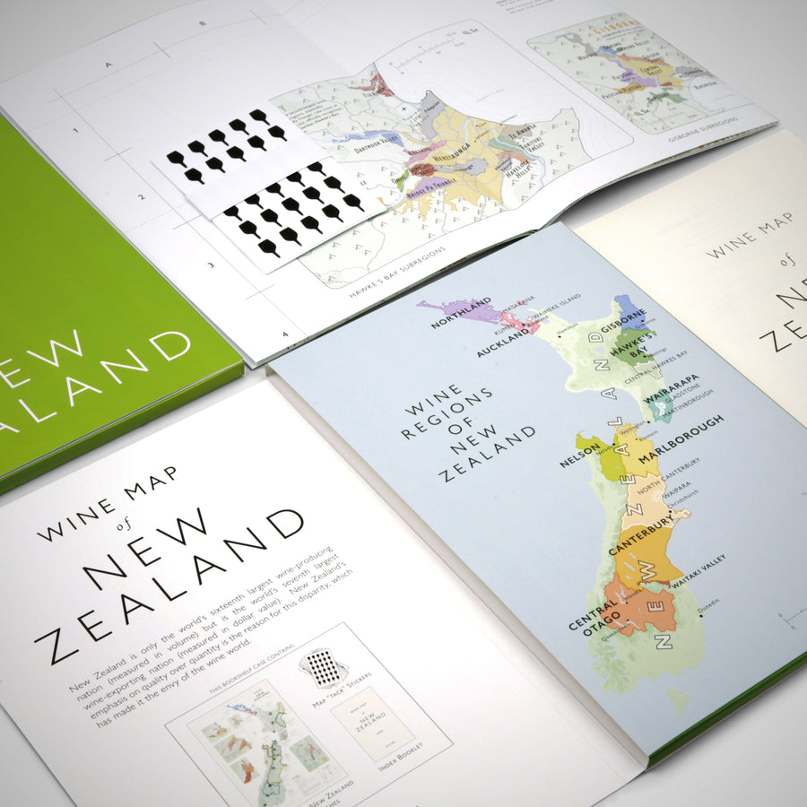 Wine Map of New Zealand Bookshelf Edition Open