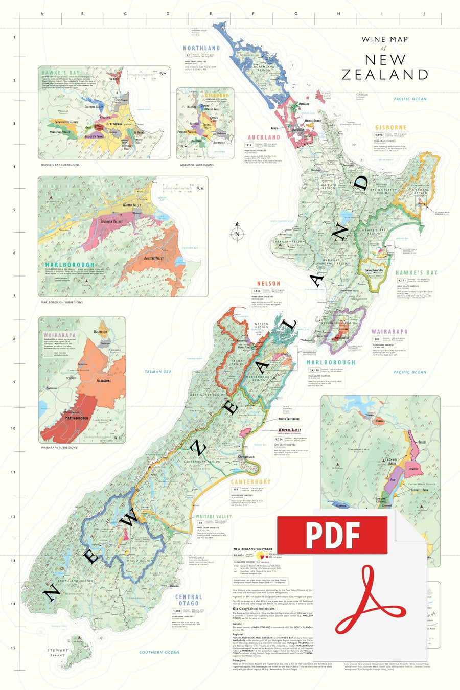 Wine Map of New Zealand - Digital Edition