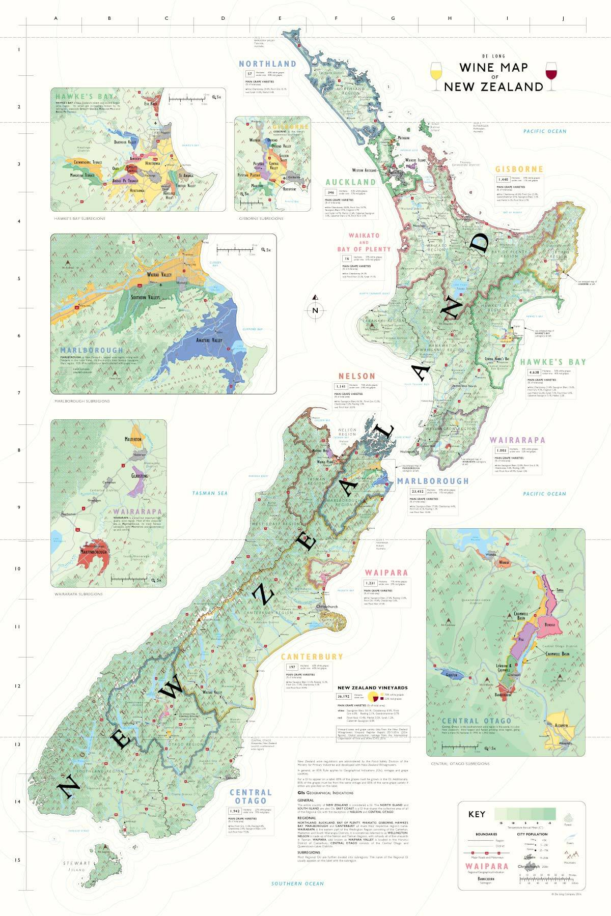New Zealand Map Of The World.Wine Maps Of The World De Long