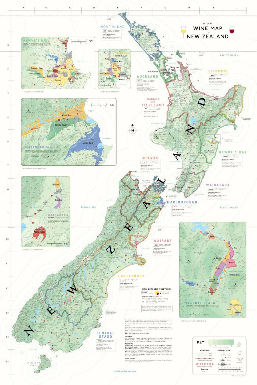 Wine Maps of the World New Zealand | De Long