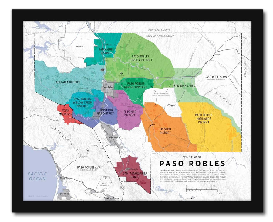 Wine Map of Paso Robles Framed | De Long