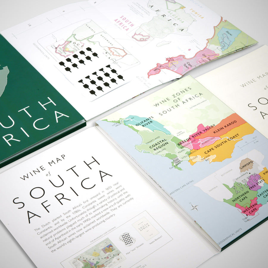 Wine Map of South Africa Bookshelf Edition Open