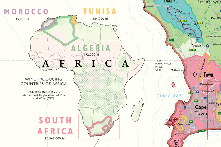 Wine Map of South Africa Detail | De Long