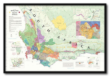 Wine Map of South Africa Framed | De Long