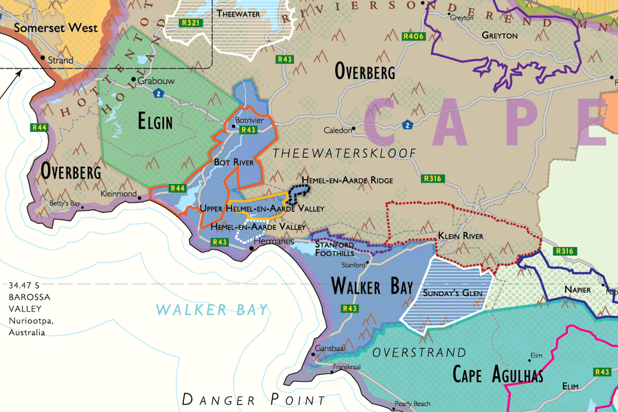 Wine Map of South Africa Overberg | De Long