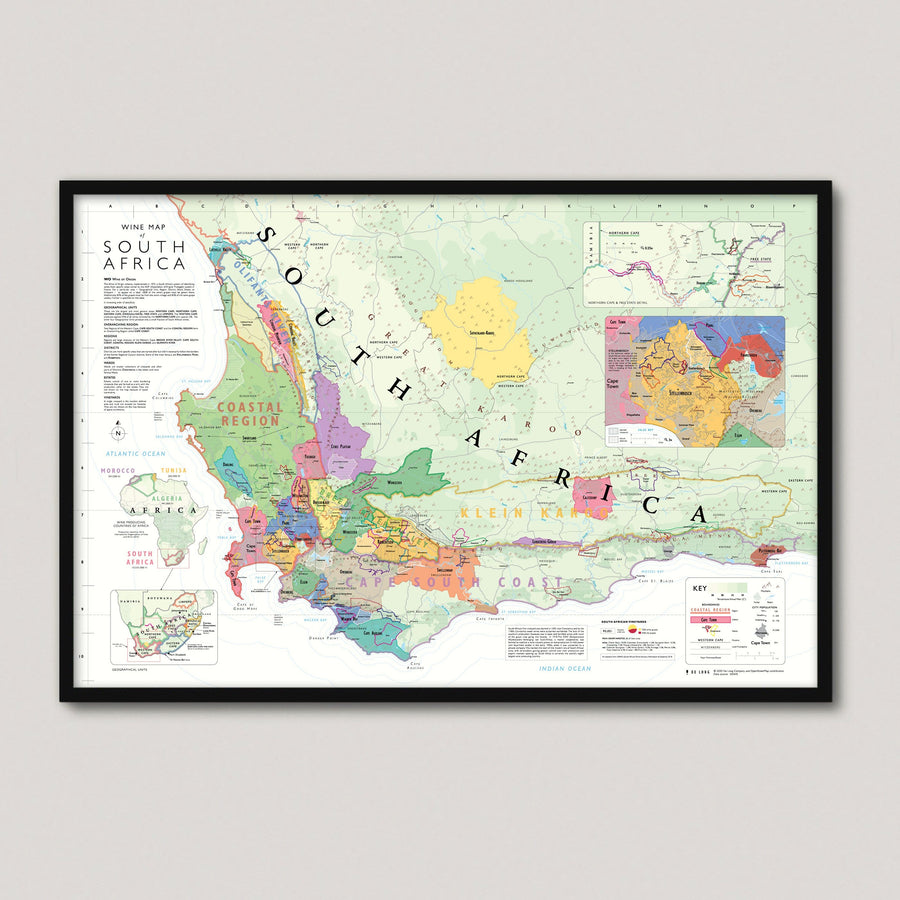 Wine Map of South Africa framed
