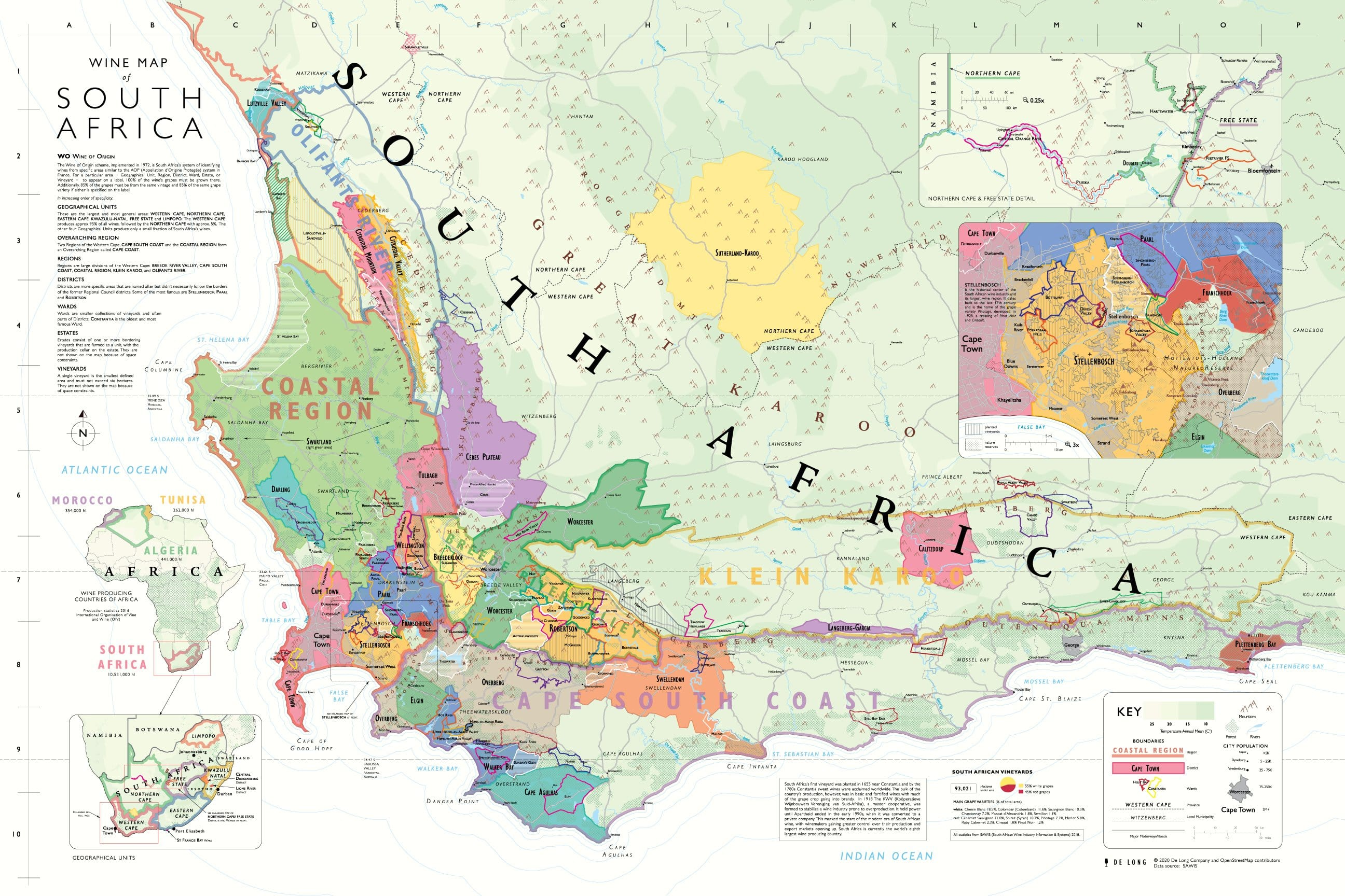 Image of: Wine Map Of South Africa De Long