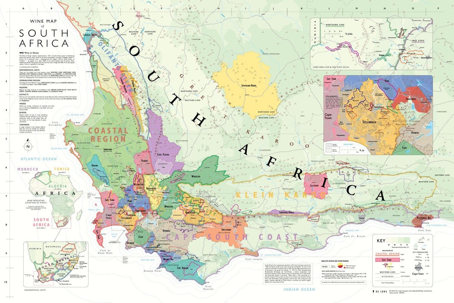 Wine Map of South Africa Bookshelf Edition Map