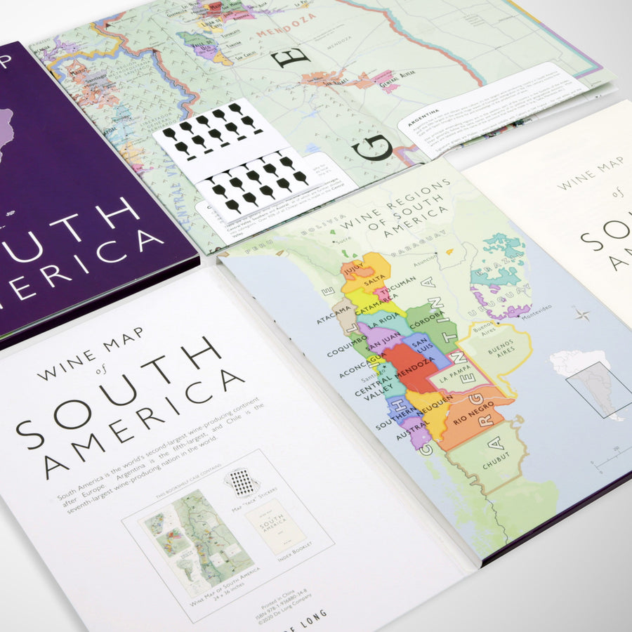 Wine Map of South America Bookshelf Edition Open